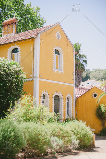 Exterior of yellow building in Portugal