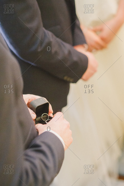 Man with rings during wedding ceremony
