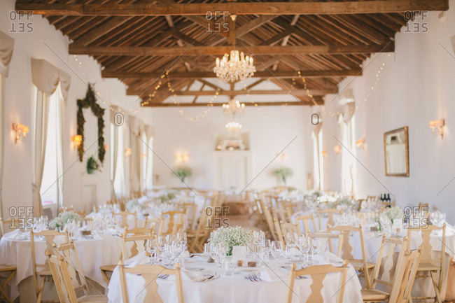 Interior of a wedding reception hall, Gradil, Portugal