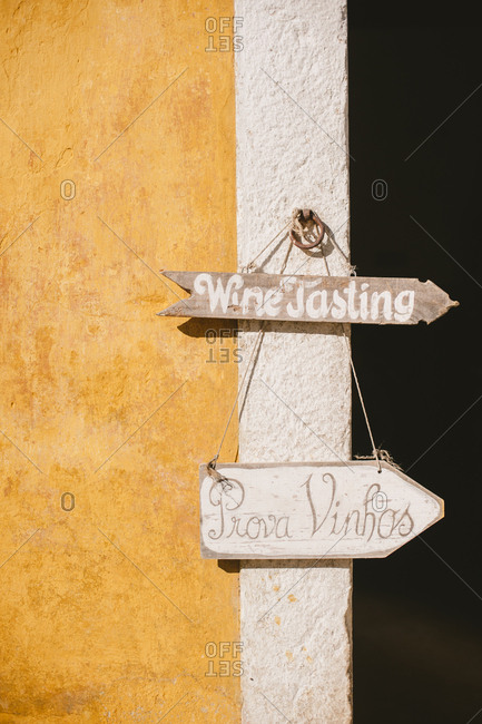 Arrow to wine tasting, Portugal