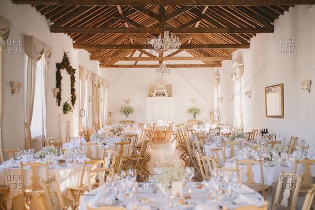 Interior of a wedding hall, Portugal