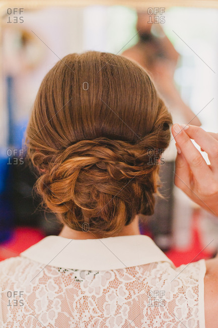 Bride with her hair put up