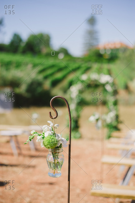 Hook with flowers in vineyard wedding
