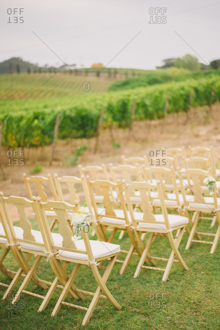 Chairs for wedding by orchard