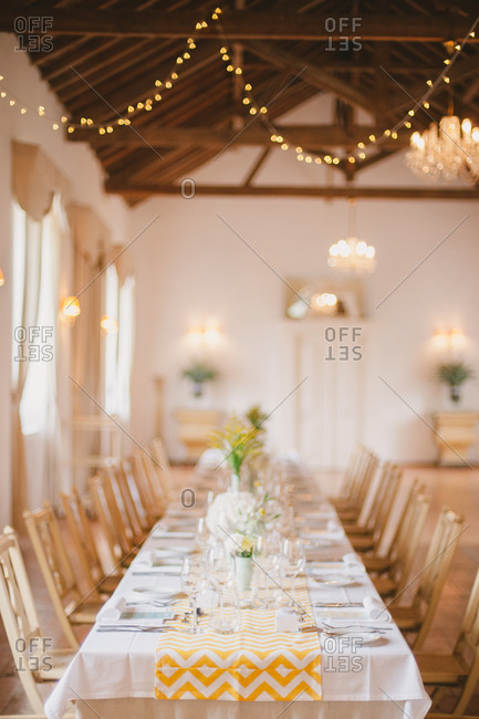 Long table in wedding banquet hall