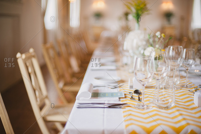 Long table in banquet hall