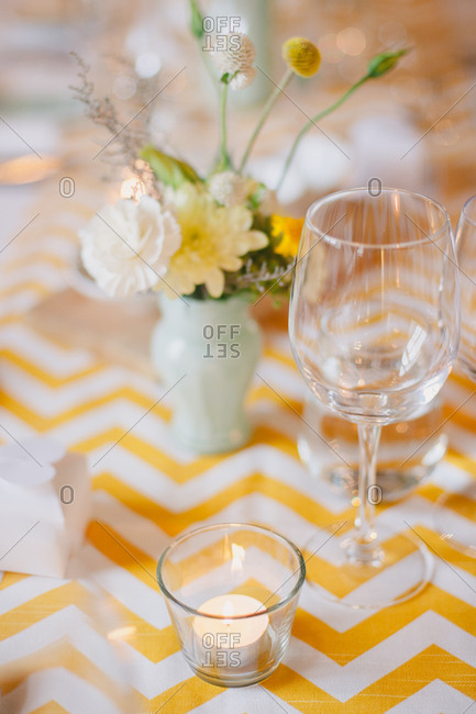 Decorations on wedding reception table