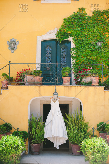 Wedding dress hanging from home - Portugal