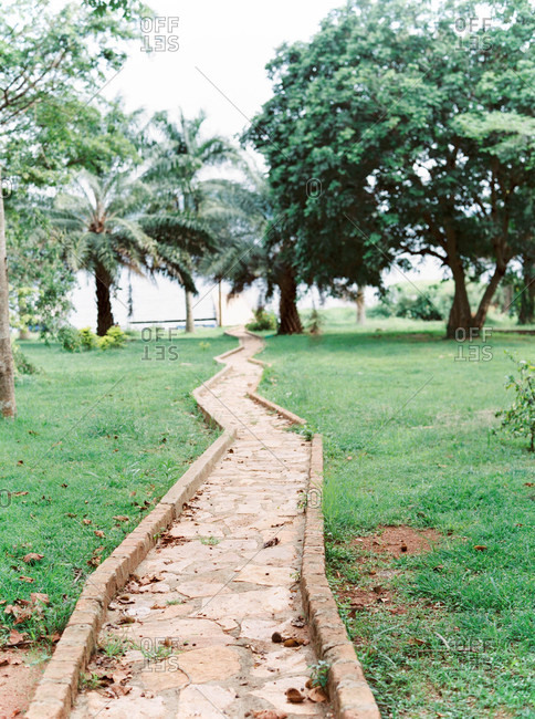 Paved path surrounded by green grass and trees