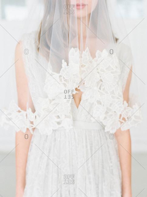 Bride wearing sheer veil