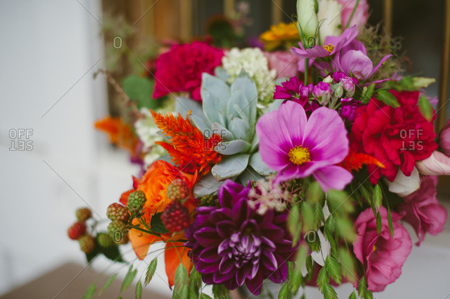 Close-up of colorful flowers of wedding bouquet
