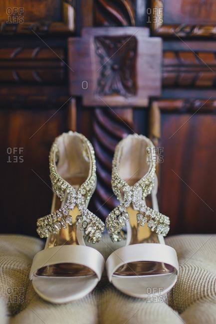 Close-up of rhinestone embellished shoes