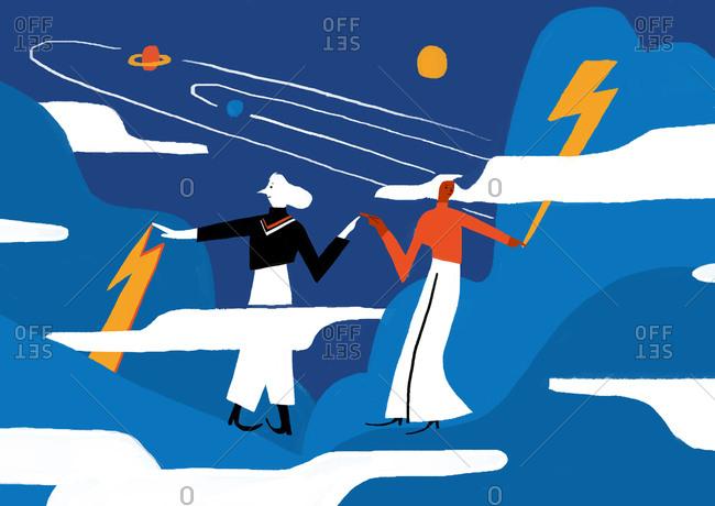 Women in sky among lightning