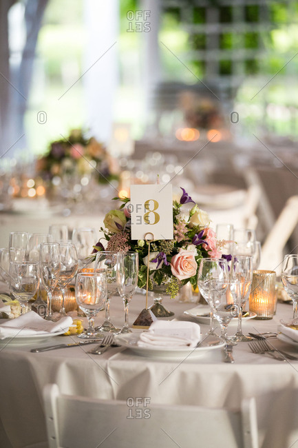 Numbered table for wedding reception