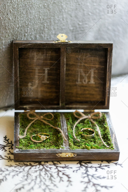 Wedding bands in box with moss