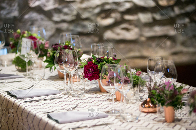 A wedding table with copper pots