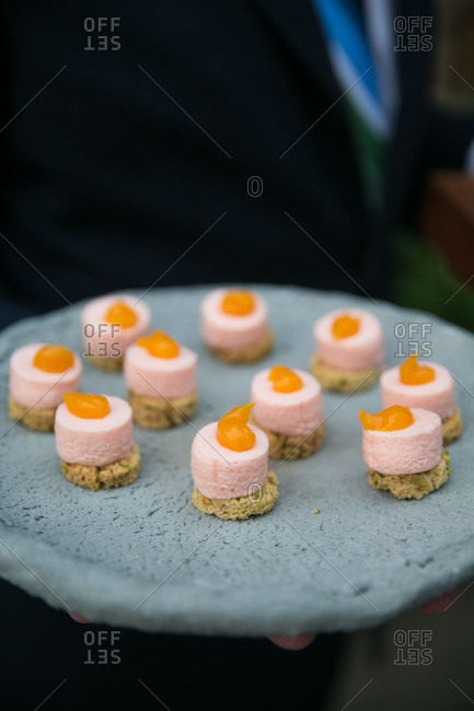 Caterer with appetizers for a wedding