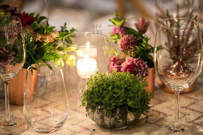 Cozy setting for wedding table