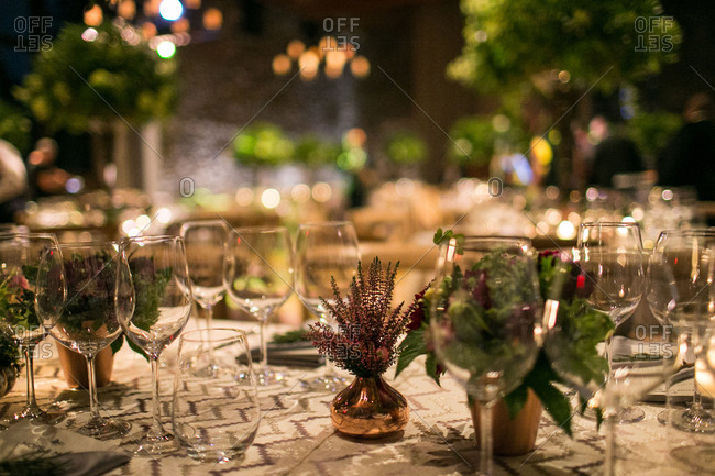 Cozy wedding table at night