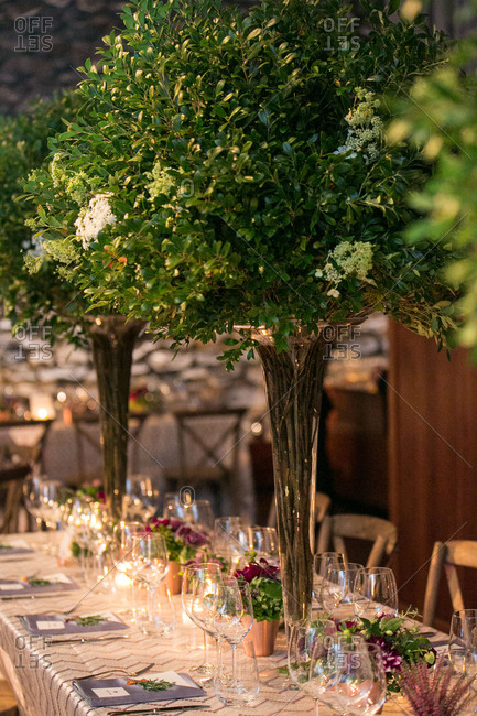 Large branch centerpieces for wedding