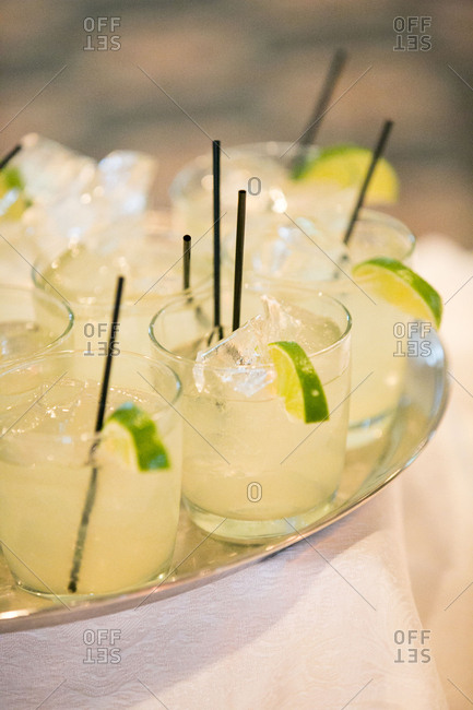 Cocktails with limes at wedding