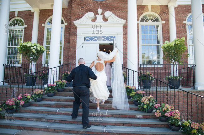 Bride going into a church