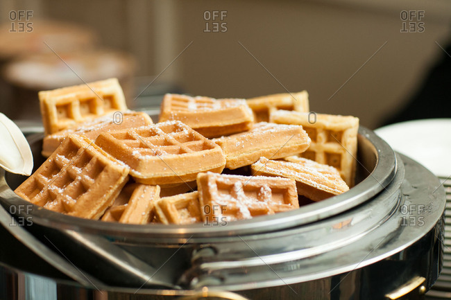 Waffles in warmer at wedding