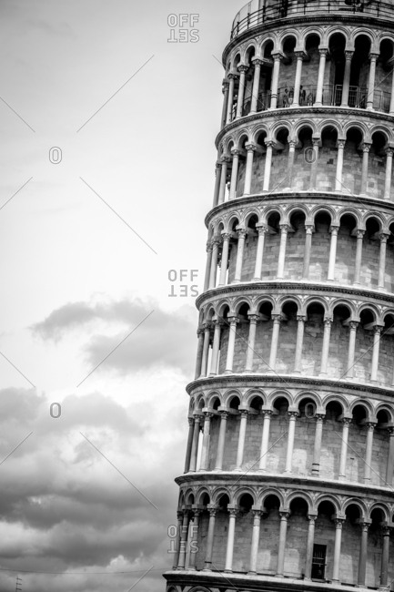 Leaning Tower of Pisa in Tuscany, Italy in black and white