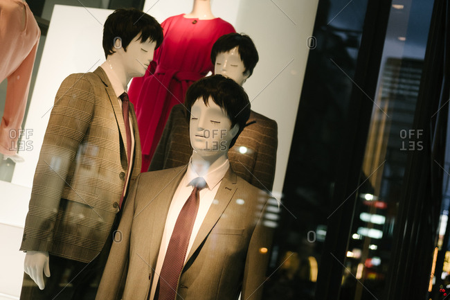 Mannequins in the window of a clothing store in Japan