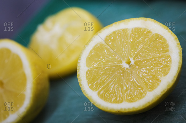 Close up of three slices of lemon