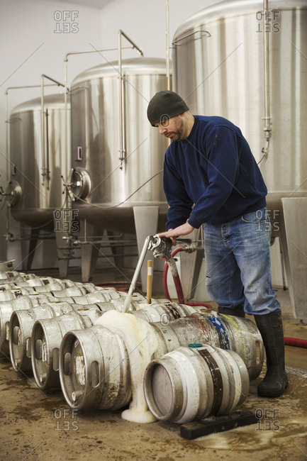 Man filling metal beer kegs with foaming beer from the fermentation chambers in a brewery