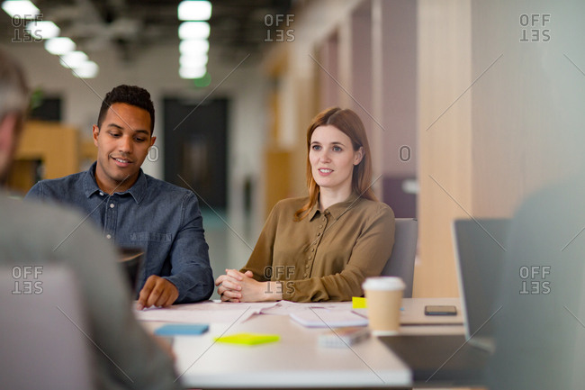 Business colleagues in a casual meeting with coffee