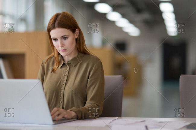 Female entrepreneur working on laptop