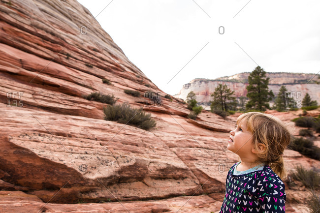 Small child looking up at the canyons of Zion National Park, Utah