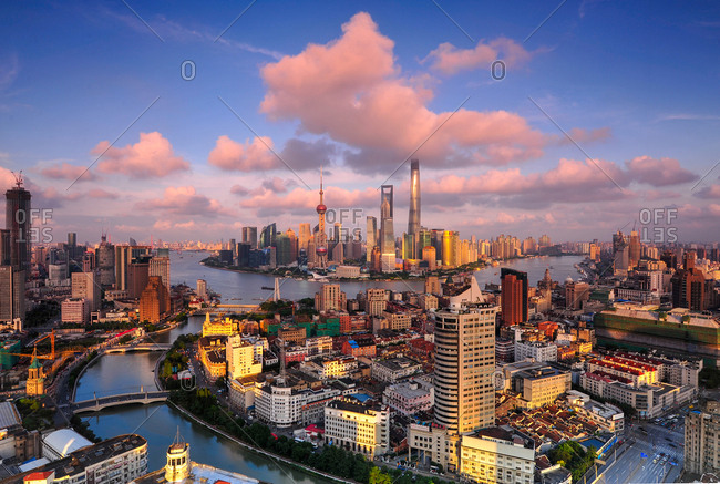 Shanghai, China - August 30, 2014: Wide angle aerial view of the city center, including Puxi and Pudong