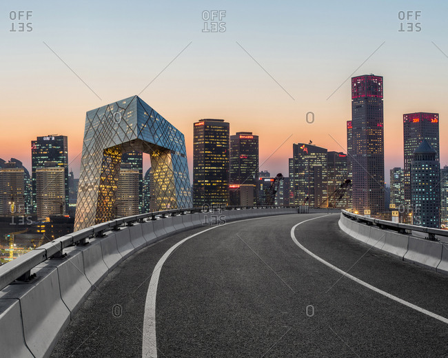 Beijing, China - November 17, 2014: Quiet view from the highway of the many high-rises and skyscrapers in the central business district of Guomao