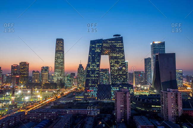 Beijing, China - November 17, 2014: An evening view of the central business district, focusing on CCTV Headquarters skyscraper