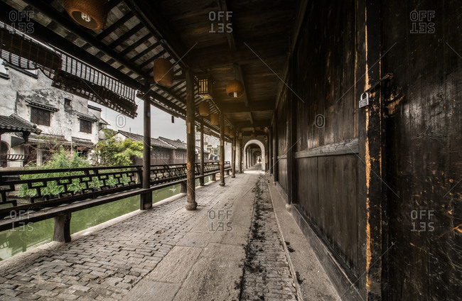 Footpath along a classic Chinese garden