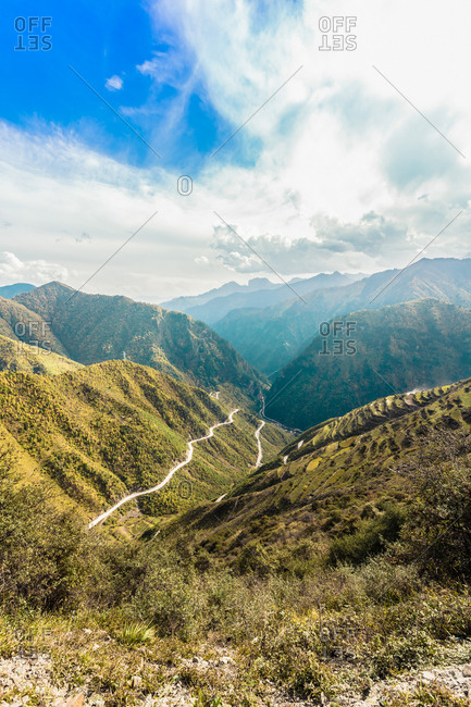 The winding mountain road in southern gansu iron ruler beam