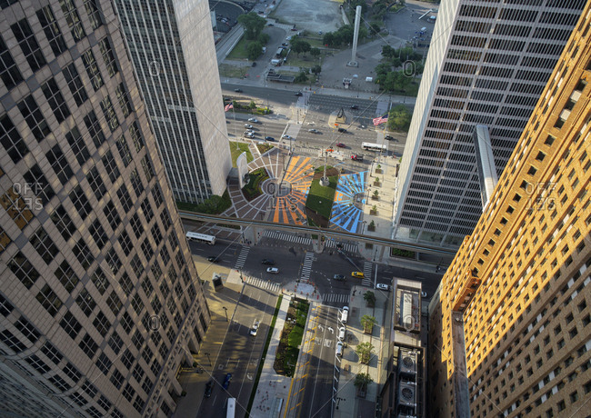 Detroit, MI - June 12, 2017: Aerial view of Hart Plaza and Spirit Plaza