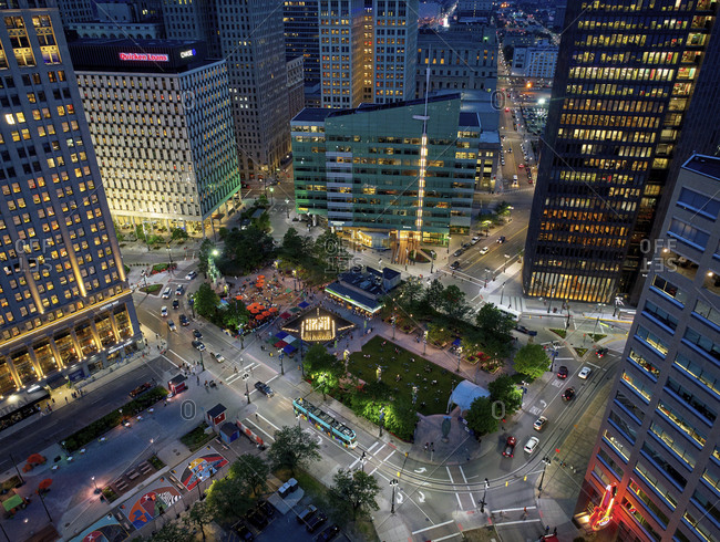 Detroit, MI - June 17, 2017: Aerial view of a busy public park between skyscrapers