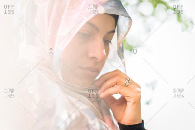 Muslim woman alone at nature