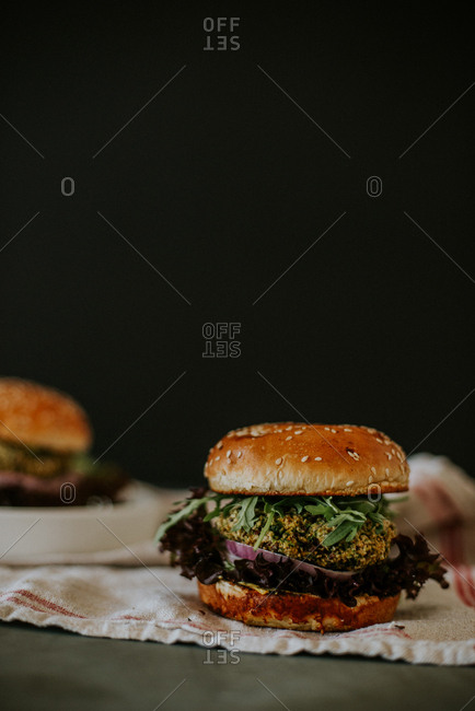 Beetroot burgers on a towel