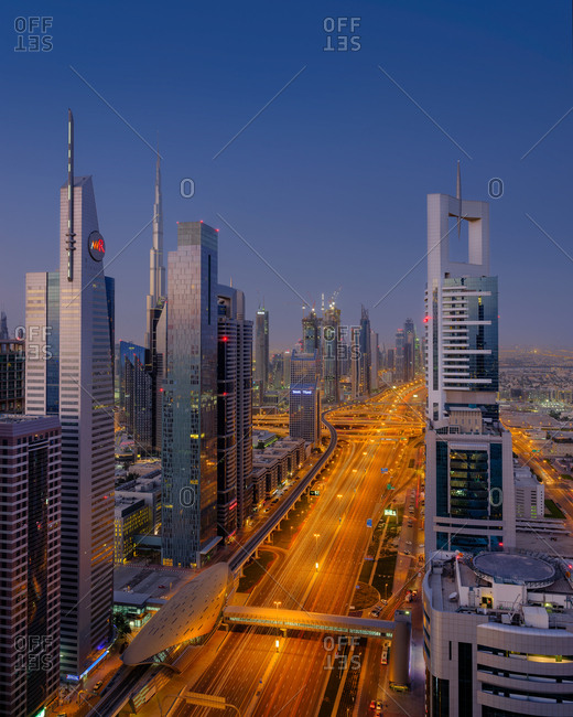Dubai, UAE  - April 13, 2017: Cityscape at dusk