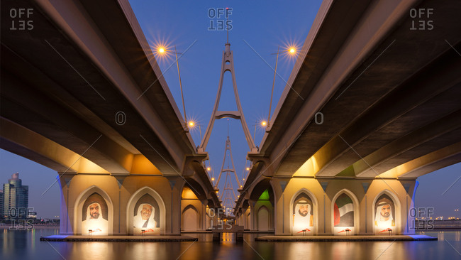 Dubai, UAE  - April 18, 2017: Business Bay bridge at night
