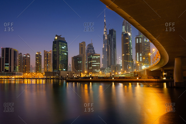 Dubai, UAE  - April 17, 2017: Shoreline of city at night