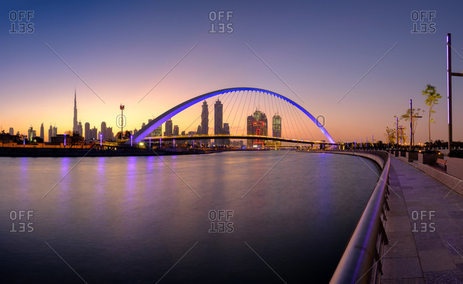 Dubai, UAE  - April 21, 2017: Canal Bridge at sunrise