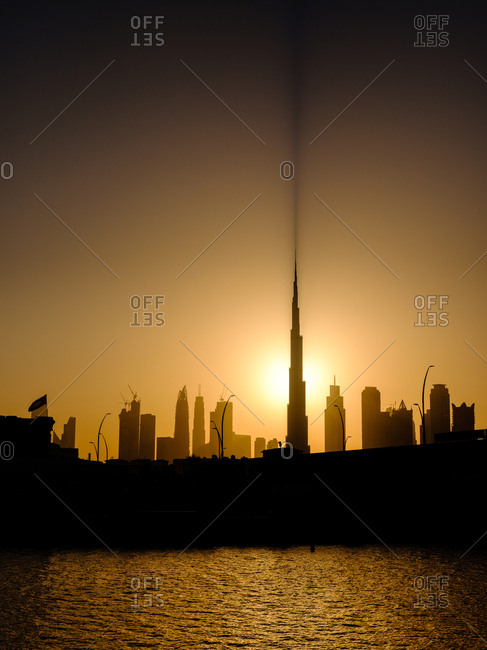Dubai, UAE  - April 21, 2017: Burj Khalifa in silhouette