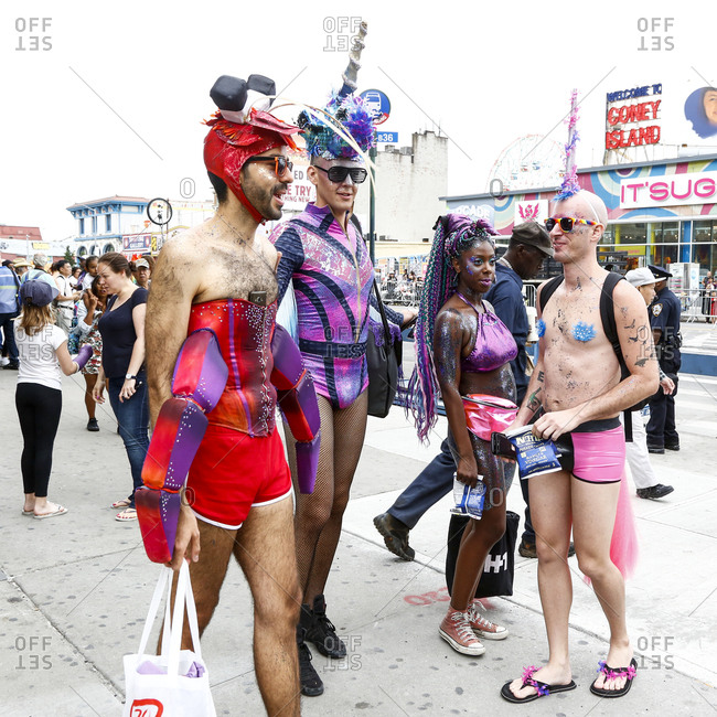Mermaid Parade, Coney Island, New York. USA - June 17, 2017: Costumed attendees celebrate at Coney Island's Mermaid Parade