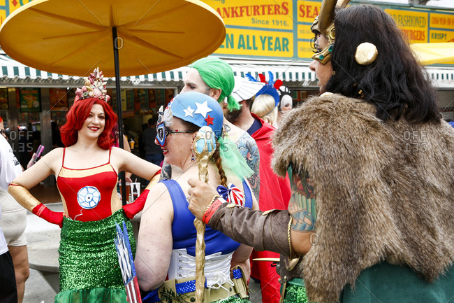 Mermaid Parade, Coney Island, New York. USA - June 17, 2017: Mermaid Parade celebration at Coney Island